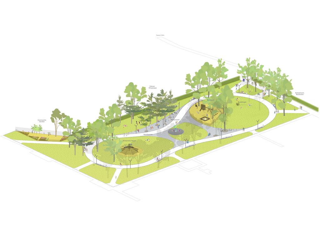 Landschaftsarchitektur Park Axonometrie Plan